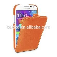 OEM Premium Leather Case for Samsung Galaxy Core Prime LTE SM-G360G / SM-G3606 / SM-G360H/DS Dual Sim - Troyes (LC: Orange)