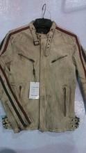 Fashion style, men's leather jacket with gatmenr dirty dyed finish