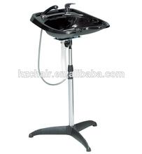 hair washing ceramic or plastic basin with rack; cheap salon furniture