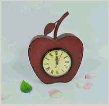 Vintage Apple Shaped Metal Desk Clock