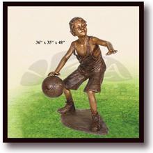 bronze playing ball children sculpture