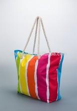 bright multicolor strips beach canvas bag