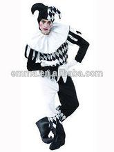 Arlequín bufón payaso de circo payaso del traje y sombrero de Halloween Medieval adultos del vestido de lujo BM531