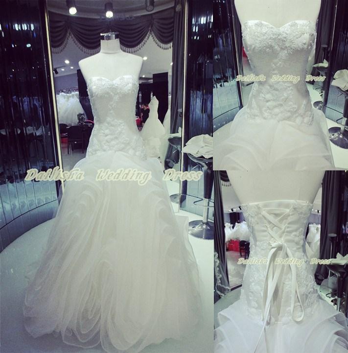 design caldo 2015 fabbrica più dimensioni di fantasia di fiori squisiti unta merletto del ricamo del sequin fiore unico abito da sposa sirena