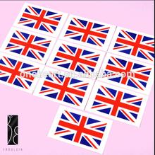2014 venda quente inglaterra país bandeira etiqueta do tatuagem temporária