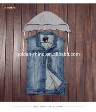 Men denim jacket OEM ODM Sleeveless Denim Jacket For Men