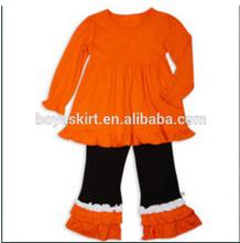 2014fashion baby outfit autumn kids design orange girls set for halloween infants girls long sleeve dress set ruffle outfit