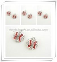 2014 china new product fashion jewelry wholesale alloy red enamel rhinestone baseball charm