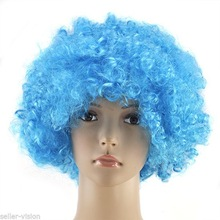 Kids Adult Star Power Afro Clown Wig Costume Party dark blue cosplay wig QPWG-2150