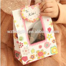 Cute eco-friendly paper pvc window gift bag