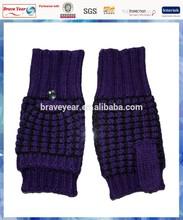 lurex popcorn knit adult gloves wiht one finger for women