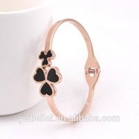 Black Enamel Clover Gold Stainless Steel Cuff Bracelet A7335