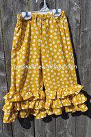 2015 Wholesale children casual clothing yellow polka dot cotton baby girls stripe ruffle leggings Autumn latest dress designs