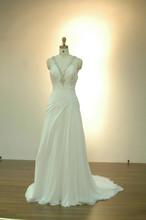 Halter Spaghetti Chiffon Backless Wedding Dress