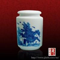 Simple delicate design ceramic cosmetic jar