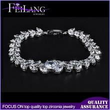 Wheat Design For Party Platinum Plated Bling Bling Cubic Zircon Elegant Women Bracelet