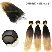 Cambodian virgin hair straight two tone ombre human hair weaving and 3 part lace base closure wholesale aliexpress alibaba