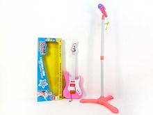 2014 Newest mini guitar with toy microphone with stand, Musical instrument set