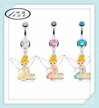 316L steel navel ring with assorted colored enamel fairy dangle