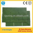 3-tab green asphalt shingles
