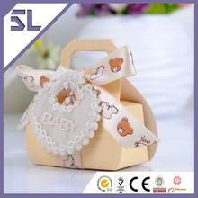 Lovely Bear Pattern Ribbon Decorated OEM Customized Gift Boxes Baby Shower Custom Paper Box Design Wedding Accessory