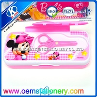 multifunction lovely pencil case with scissors/plastic double sides pencil box