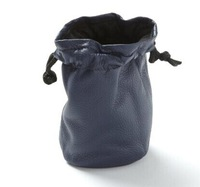 Small leather drawstring pouch