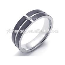 Stainless Steel Fashion Black Silver Diamond Wedding Ring