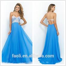 2015 Long Sheath Rhinestone Beaded Sweetheart Backless Spanish Dance Dress Empire Chiffon Floor Length Cheap Prom Dresses