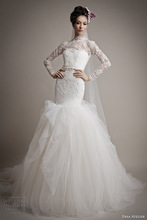 CJ-001 Custom Design Hotsale Western White Sexy Long Sleeve Natural Waist Long Tail Woman Dress Mermaid Wedding Dresses 2015