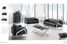 2014 Modern used office sofa is made by stainless steel legs and leather for office