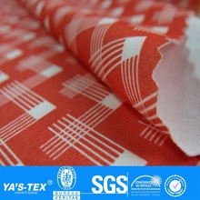 Red White Stripe Square Print 4 Way Stretch Fabric Wholesale Textil Fabric For Shirt Blouse