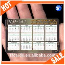 kredi kartı boyutunda plastik cep boyutu takvim promosyon için kart 2015