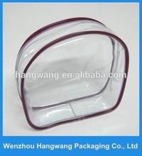 plastic transparent round zipper cosmetic bag