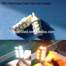 Dual color t20 7440 7443 18smd turn break led car lighting in white /ambor color