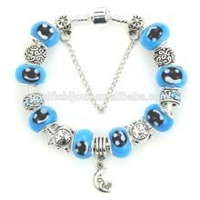 european silver murano glass bead charm bracelets