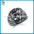 moda cabeza de león tigre cráneo anillo de acero inoxidable para el hombre grande de color negro anillo de acero inoxidable