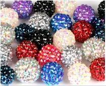 Resin Rhinestone Shamballa Beads