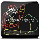 60cm commercial twinkling christmas light Waving Santa Rope Light Silhouettes