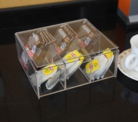 Rectangle Transparency Acrylic Tea Bag Box/Perspex Tea Bag Caddy/Plexiglass Tea Organizer