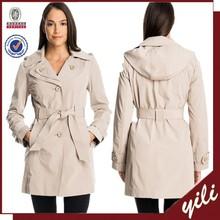 2015 new fashion waist belt women detachable hood trench coat
