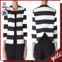 2015 new design long sleeve back V design stripe ladys coat