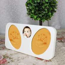 las huellas baby baby marcos impresiones de fotos de color rojo con el perro footprintchristmas media