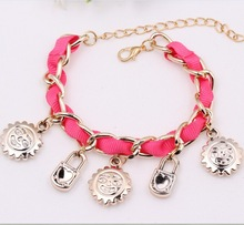 Women Fashion Design Copper Chain Bracelet Sun Shape Charm