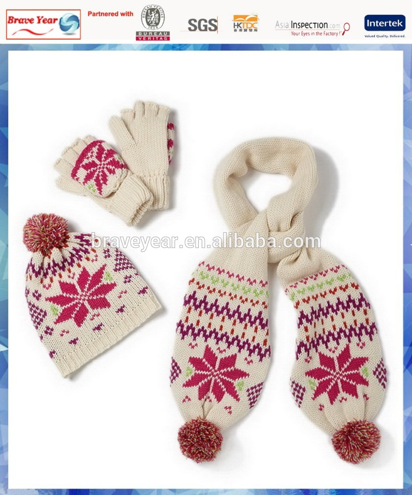 100% acrylic snowflake knitted women winter hat and scarf set