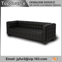 Modern Leather Josef Hoffman Kubus Sofa, Living Room Leather Sofa 3 seater