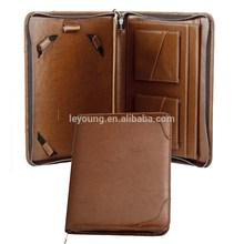 Custom Zip Leather Tablet Portfolio With Pockets