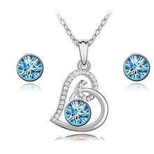 Hot Selling 18K white gold plating latest model fashion jewelry wholesale Swarovski jewelry set