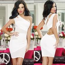 Women's Black One Shoulder Cut Out Mesh Mini Cocktail Dress SV000460#