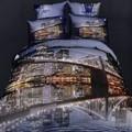 hermosos paisajes de la noche europea estilo 3d reactiva impreso conjuntos de ropa de cama ropa de cama de algodón tela xg4035k